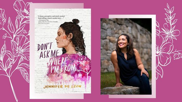 jennifer de leon's book cover don't ask me where i'm from and jennifer sitting next to it with a navy blue dress on outside
