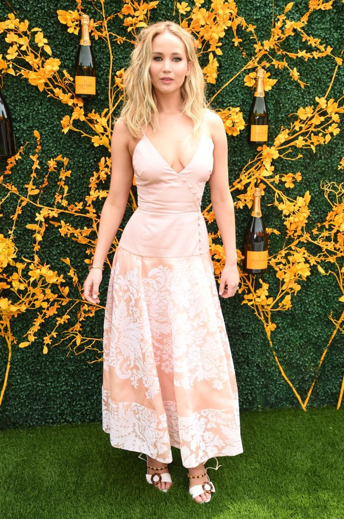 Jennifer Lawrence Shows Off Engagement Ring and Pink Dress at Veuve Clicquot Polo Classic