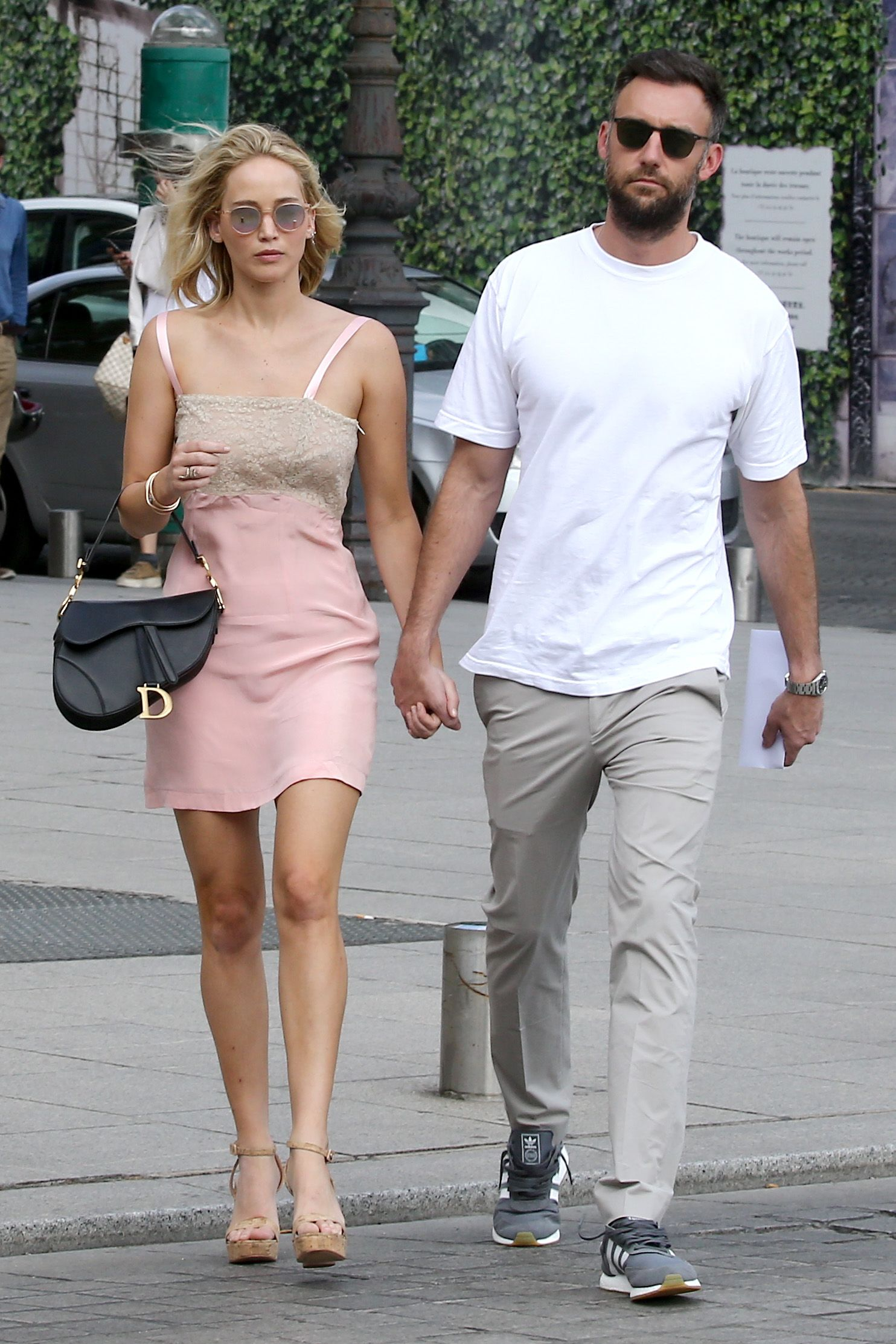 Jennifer Lawrence is Spotted Strolling Hand in Hand with Cooke Maroney in Paris, France.