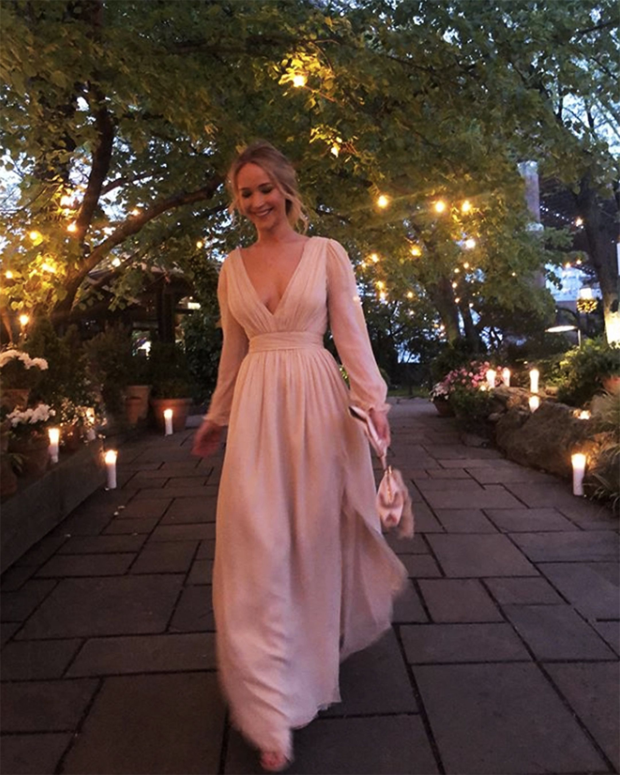Jennifer Lawrence Wears Pink Wedding Dress To Engagement Party