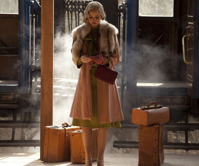 jennifer lawrence in serena   luggage suitcases, train travel