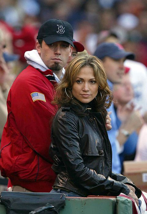boston   october 11  actresssinger jennifer lopez and boyfriend, actor ben affleck watch the new york yankees take on the boston red sox during game 3 of the 2003 american league championship series on october 11, 2003 at fenway park in boston, massachusettes  photo by ezra shawgetty images