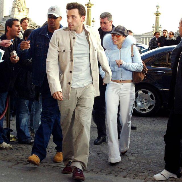 jennifer lopez and ben affleck in paris france on april 09 2003