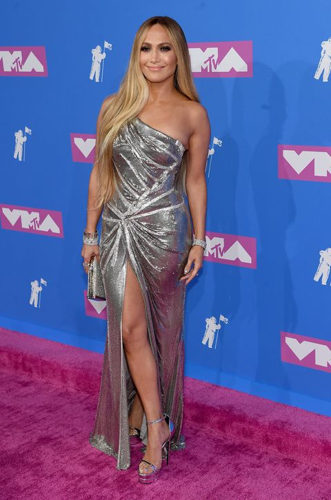 Jennifer Lopez Looks Amazing in Silver One-Shoulder Gown at 2018 MTV ...