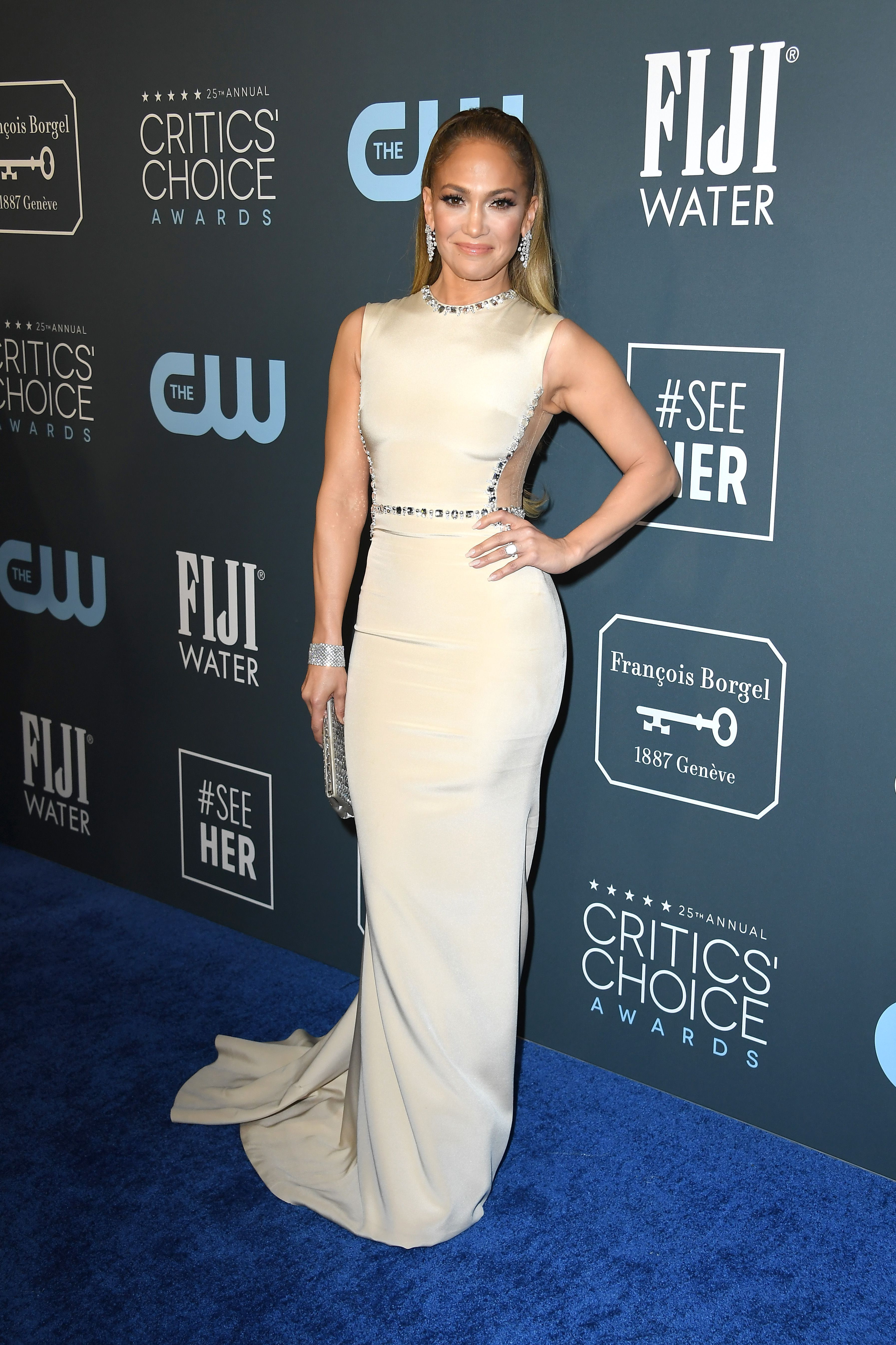 Jennifer Lopez Is Dripping in Diamonds in a Bejeweled Dress at the 2020 Critics' Choice Awards