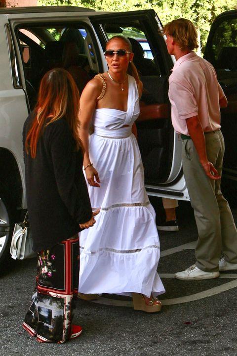 jennifer lopez out in a white maxi dress