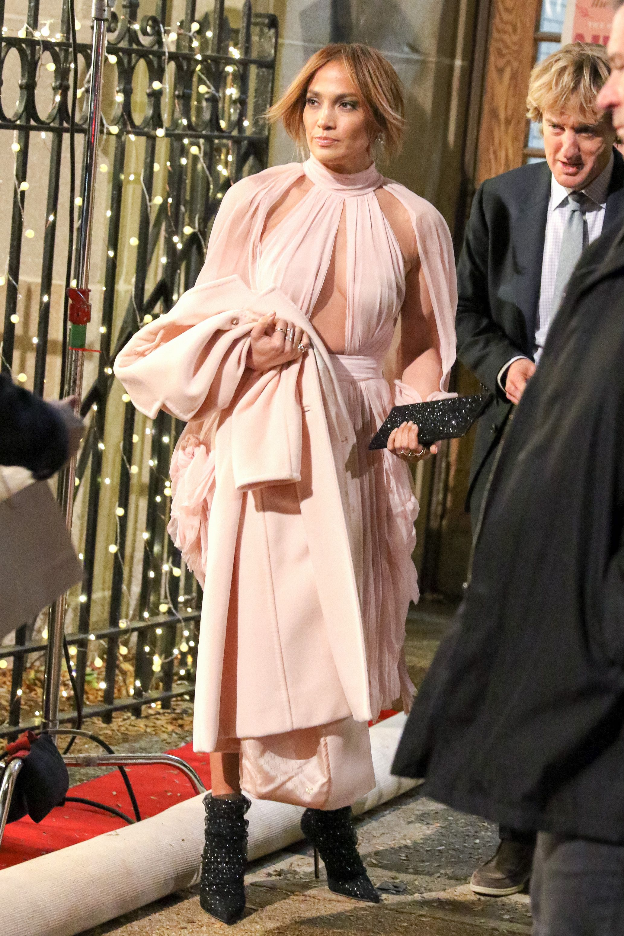 Jennifer Lopez Wore the Dreamiest Pale Pink Cutout Dress While Shooting Her Rom-Com 'Marry Me'