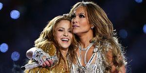 Jennifer Lopez en Shakira tijdens de SuperBowl 2020