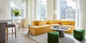 Jennifer robin interiors apartamento san francisco amarillo verde beige