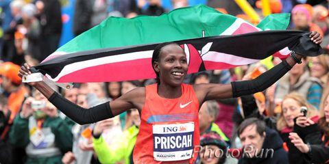 Priscah Jeptoo after winning the 2013 New York City Marathon