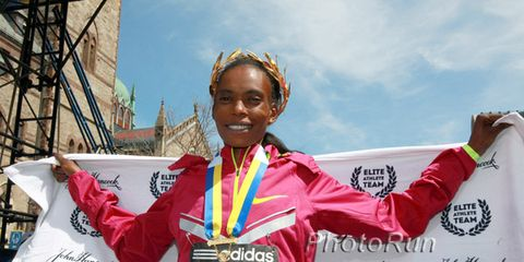 Rita Jeptoo after winning the 2014 Boston Marathon