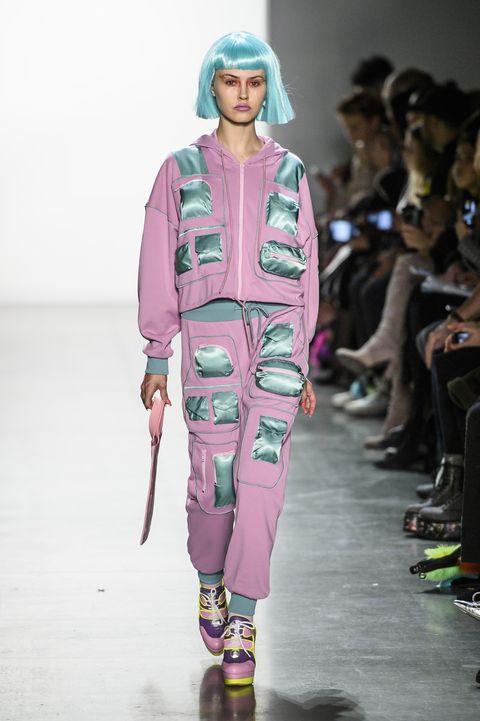 Runway, Fashion, Fashion show, Fashion model, Clothing, Pink, Fashion design, Human, Footwear, Event,