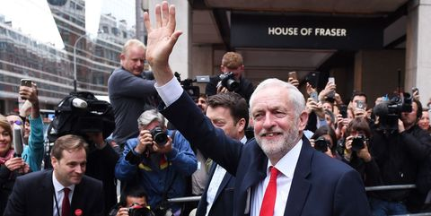 Corbyn happy at Labour HQ about the hung parliament election result