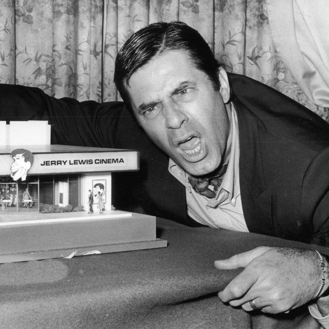 22nd april 1971  american comedian and film star jerry lewis with a model of the jerry lewis cinema  photo by evening standardgetty images
