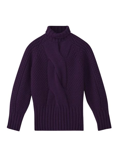 Clothing, Violet, Purple, Outerwear, Sleeve, Sweater, Collar, Neck, Wool, Jacket,