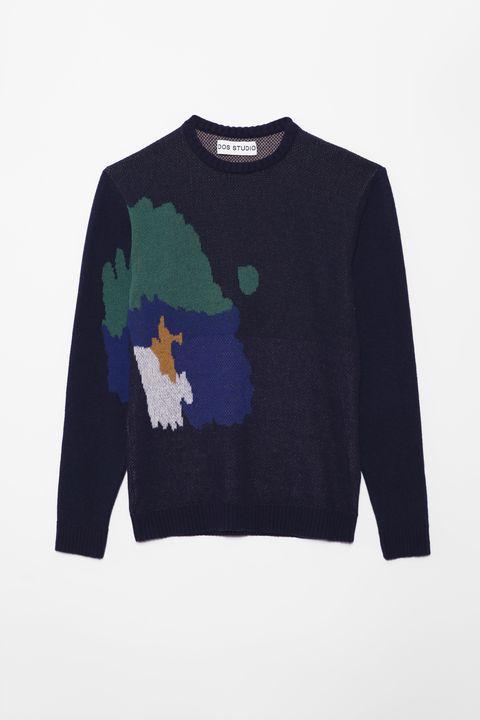 Clothing, Long-sleeved t-shirt, Blue, Sleeve, T-shirt, Sweater, Outerwear, Top, Wool, Sweatshirt,