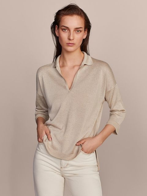 Clothing, White, Neck, Sleeve, Beige, Shoulder, Top, Outerwear, Collar, Blouse,