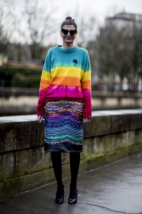 Clothing, Street fashion, Yellow, Fashion, Blue, Turquoise, Purple, Electric blue, Pink, Eyewear,