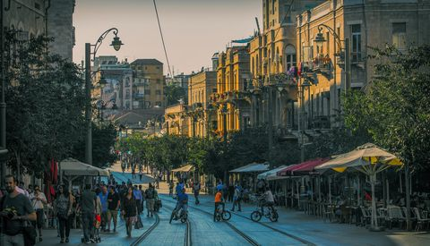 Urban area, Town, People, Street, City, Neighbourhood, Pedestrian, Sky, Metropolitan area, Human settlement,