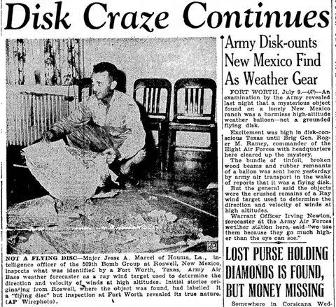Jesse Marcel, qui a initialement enquêté sur le site d'OVNI de Roswell en 1947.