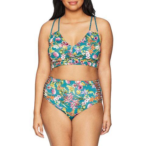 jessica simpson floral plus size high waist bikini