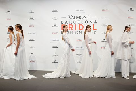 White, Dress, Clothing, Gown, Wedding dress, Fashion, Formal wear, Bridal clothing, Fashion design, Bridal party dress,