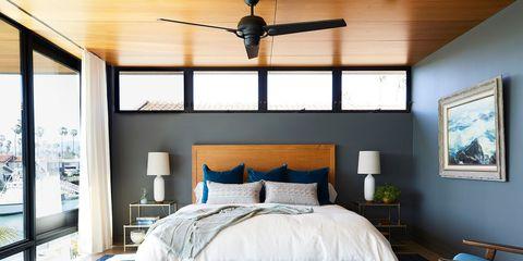 Bedroom, Furniture, Bed, Room, Ceiling fan, Property, Bed sheet, Bed frame, Interior design, Ceiling,