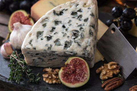 Food, Blue cheese, Gorgonzola, Cheese, Dish, Ingredient, Cuisine, Dairy, Goat cheese, Blue cheese dressing,