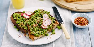 smashed pea and almond toast