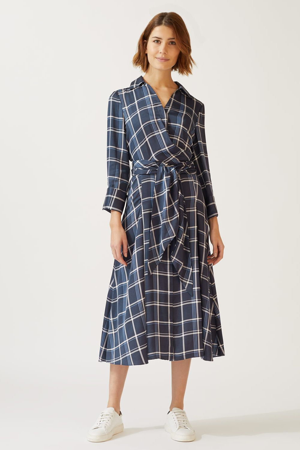 jigsaw check tie waist dress