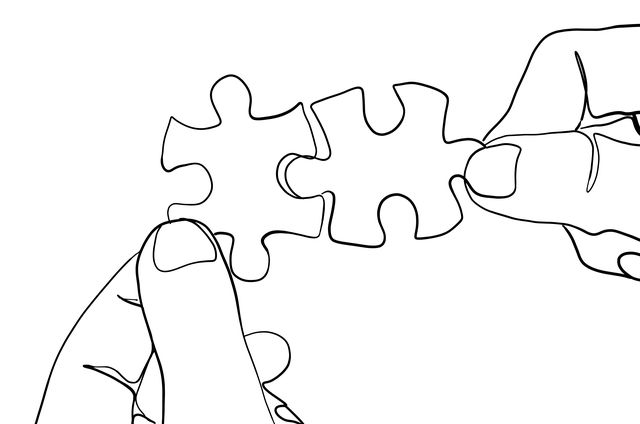 jigsaw puzzle one line drawing
