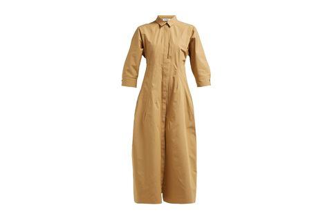 Clothing, Outerwear, Sleeve, Beige, Khaki, Trench coat, Collar, Robe, Dress, Formal wear,