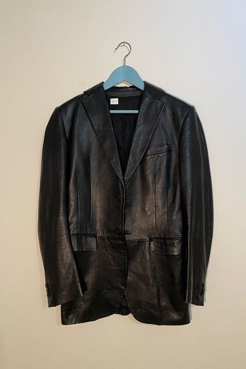 Clothing, Leather, Jacket, Outerwear, Leather jacket, Clothes hanger, Textile, Sleeve, Top,