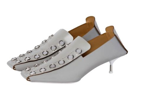 Footwear, White, Shoe, Beige, Slingback, Sandal, High heels, Leather,
