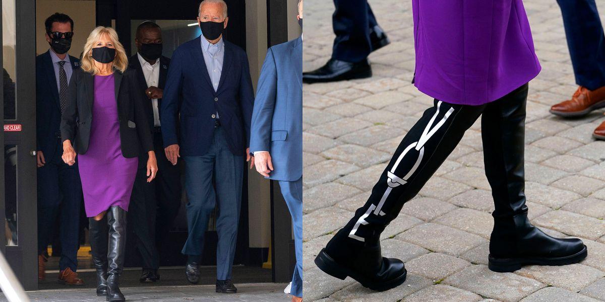 "Jill Biden Wears Stuart Weitzman 5050 Boots With ""Vote"" On ..."