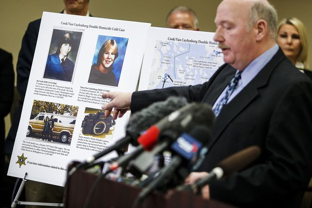 file   in this april 11, 2018, file photo, snohomish county cold case detective jim scharf, right, shares details of the unsolved case of the 1987 double homicide of jay cook and tanya van cuylenborg, during a press conference in everett, wash william earl talbott ii was found guilty friday, june 28, 2019, in the 1987 killings of the young canadian couple  ian terrythe herald via ap, file