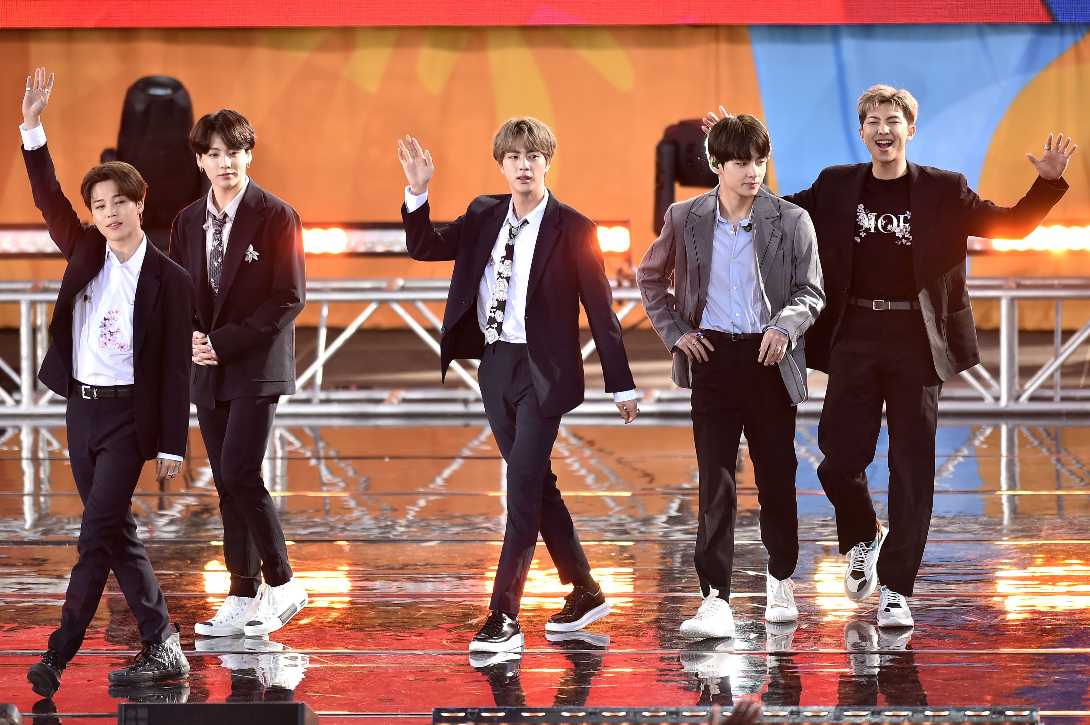 Jimin, Jungkook, Jin, V, and RM while performing in Central Park.