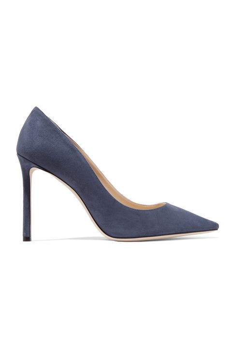 Footwear, High heels, Court shoe, Shoe, Leather, Slingback, Electric blue, Basic pump, Suede, Beige,