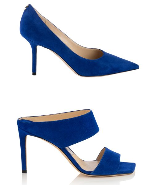 Footwear, High heels, Cobalt blue, Blue, Electric blue, Shoe, Basic pump, Court shoe, Sandal, Slingback,