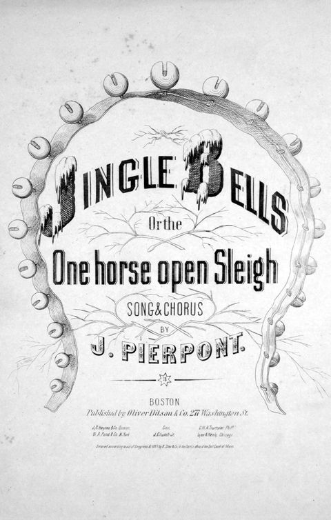 sheet music cover image of the song jingle bells, or, the one horse open sleigh song and chorus, with original authorship notes reading by j pierpont, united states, 1857 the publisher is listed as oliver ditson and co, 277 washington st, the form of composition is strophic with chorus, the instrumentation is piano and voice, the first line reads dashing thro the snow, in a one horse open sleigh, and the illustration artist is listed as none photo by sheridan librarieslevygadogetty images