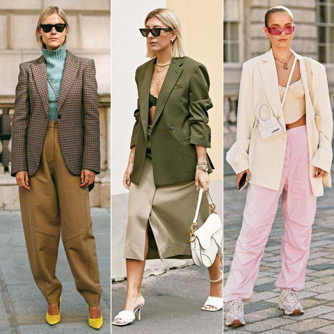 Clothing, Suit, Street fashion, Fashion, Blazer, Outerwear, Footwear, Pantsuit, Jacket, Formal wear,