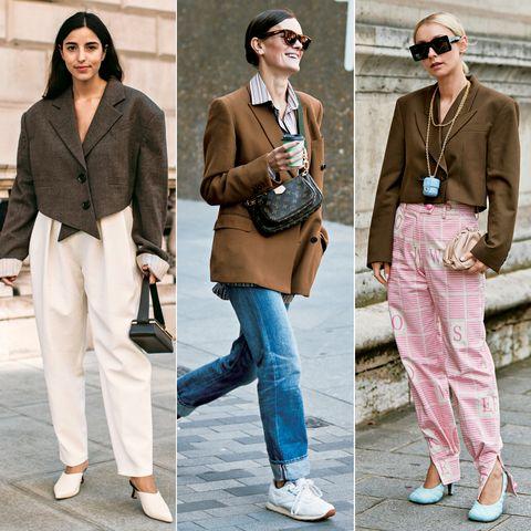 Clothing, Street fashion, Fashion, Jeans, Blazer, Footwear, Pink, Shoe, Brown, Outerwear,