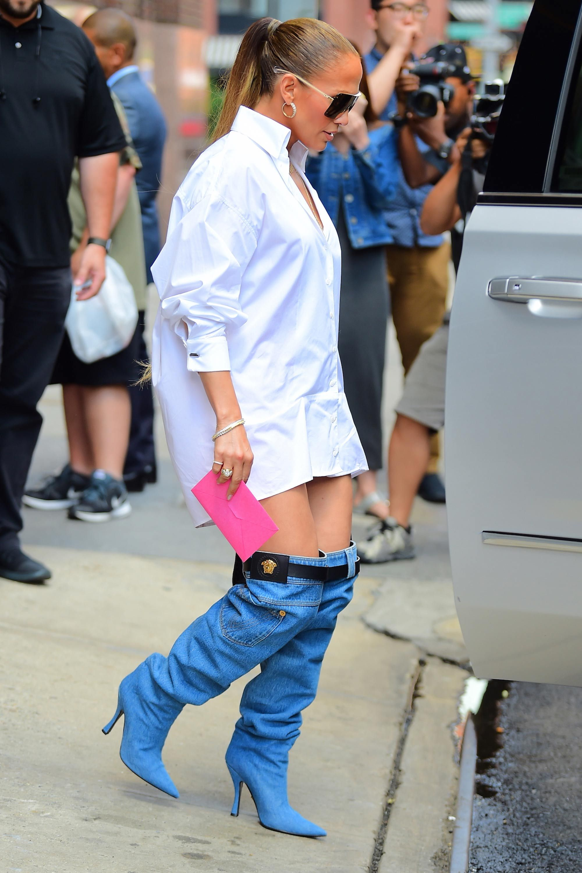Jennifer Lopez Swaps Traditional Trousers For Thigh High Boot Jeans