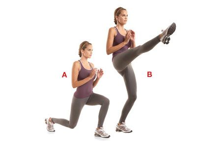 Reverse Lunge to Front Kick