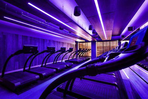 Blue, Purple, Architecture, Building, Electric blue, Interior design,