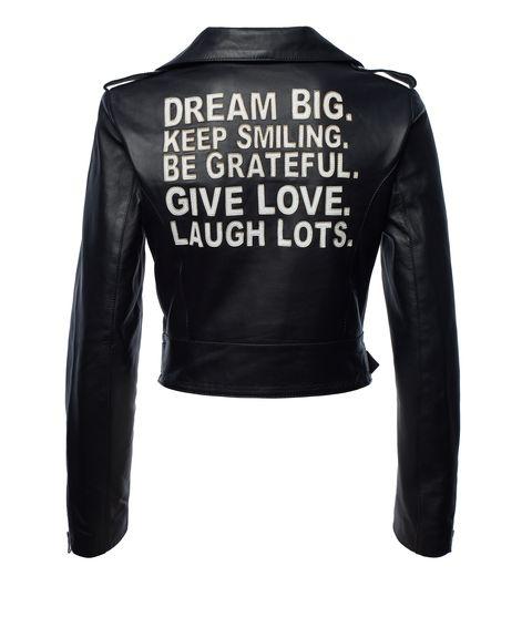 Clothing, Jacket, Leather, Leather jacket, Sleeve, Outerwear, Textile, Top, Denim, Zipper,