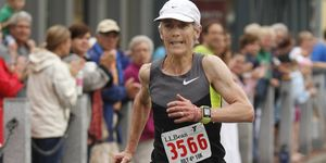 Joan Benoit Samuelson of Freeport finishes strong in fourth among women during the LL Bean 10K Road