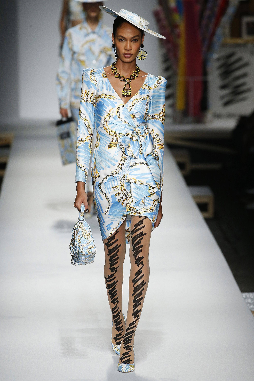 Joan Smalls walking for Moschino