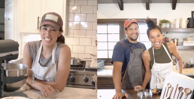 joanna gaines and johnnyswim in their kitchens