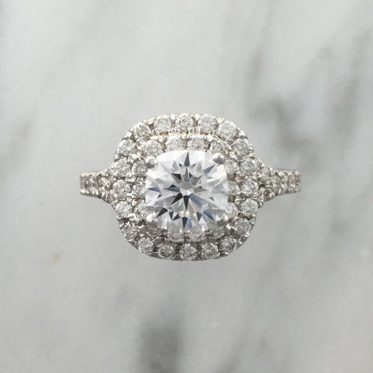 joanna gaines engagement ring - double cushion platinum diamond engagement ring
